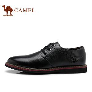 骆驼牌 男鞋 新品时尚简约系带皮鞋头层牛皮耐磨低帮鞋