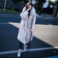 棉衣女中长款2018冬季新款韩版加厚宽松大毛领过膝ins面包服