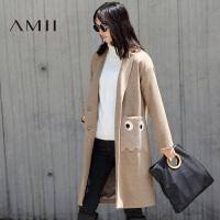 【已售罄】AMII[极简主义]冬新品女撞料绣花贴袋中长款毛呢外套21674378