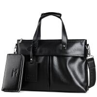 头层牛皮男士手提包商务软皮业务包皮包包公文包男土横款手拎包 黑色 手包