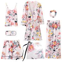 甜梦莱睡衣女春秋季长袖纯棉和服树叶睡袍七件套装吊带夏冬性感可家居服