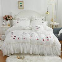 全棉蕾丝公主风四件套纯棉樱桃刺绣纯色斜纹床上用品套件