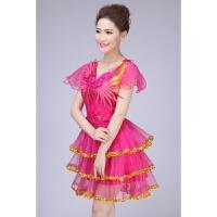 新款连衣裙舞台演出服现代舞蹈亮片女装合唱表演服广场舞服装 玫