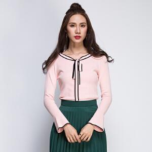 日系甜美领口系带蝴蝶结气质百搭时尚修身撞色喇叭袖针织衫长袖秋