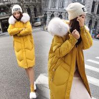 连帽羽绒服女中长款2018新款加厚大毛领长款过膝宽松韩版时尚外套 黄色预售11.20发货 S