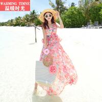 温暖时光波西米亚长裙海边度假碎花沙滩裙出游旅行连衣裙雪纺长裙
