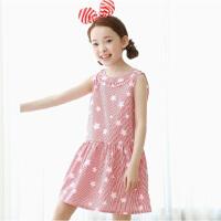 夏季爆款韩童装后背V领连衣裙无袖条纹女童公主童裙
