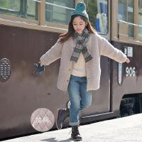 韩版女童装毛毛加棉加厚外套仿羊羔毛宽松外套送围脖中大童