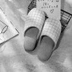 日式良品水洗棉毛巾布拖鞋 简约格子家居拖鞋 防滑鞋底男女情侣款 均码