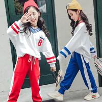运动童装女童秋装套装卫衣休闲裤宽松洋气儿童学生装