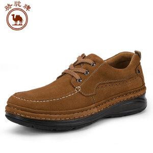 骆驼牌男秋季鞋手工缝制日常休闲男士鞋舒适耐磨头层磨砂摔纹牛皮
