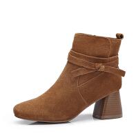 camel骆驼女鞋 秋冬新款简约系带装饰短靴 百搭拉链高跟方跟女靴子