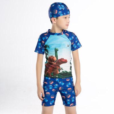 韩版儿童侏罗纪恐龙泳衣 幼儿恐龙泳裤泳装 3-8岁男童分体平角裤泳衣 品质保证 售后无忧 支持货到付款