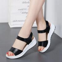 凉鞋女学生夏季新款韩版坡跟厚底平底中跟平底女士外穿凉拖鞋