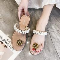 2019夏季新款珍珠水钻平底罗马一字式扣带凉鞋仙女百搭沙滩夹脚凉