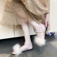 毛毛一字红凉拖鞋女夏毛绒新款外穿个性时尚学生韩版凉鞋两穿