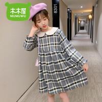 【3件2折�r92元】女童加�q�B衣裙秋冬�b新款洋�忭n版�W�t�和�格子公主裙子加厚