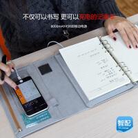活页记事本商务礼品创意套装文具笔记本带移动电源充电宝