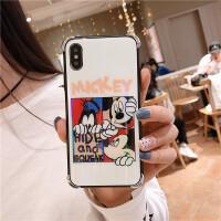 极光苹果xs max手机壳iPhone7/8plus玻璃全包防摔套 6/6s 镭射米奇 玻璃