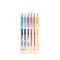 晨光彩色中性笔 H5609本味6色按动笔 0.5重点记号笔 子弹头标记笔