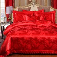 婚庆床品四件套大红色结婚床上用品纯棉全棉婚礼新婚床单被套