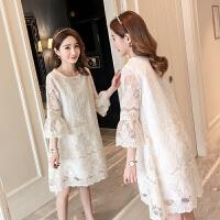 孕妇装春装套装时尚款2018新款夏装上衣裙子短袖蕾丝中长款连衣裙 白色