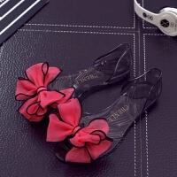 花朵凉鞋果冻鞋女夏平底学生鱼嘴水晶透明外穿韩版塑料女鞋沙滩鞋