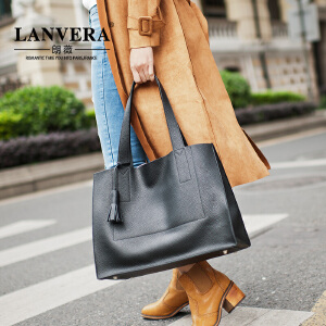 【支持礼品卡】LANVERA 新款女士手提包大容量牛皮托特包欧美简约子母单肩包大包 L2007