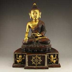 精工铜器全铜打造释迦牟尼佛像摆件