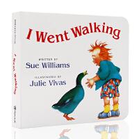 进口英文原版绘本 I Went Walking 吴敏兰书单绘本123 第81本 纸板书Sue Williams