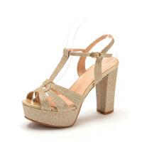 Fondberyl/菲伯丽尔 夏款格利特百搭高粗跟露趾女凉鞋FB42115915