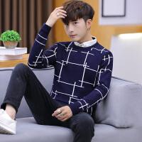 秋冬季假两件毛衣男士韩版衬衫领针织衫假领长袖衬衣带领子上衣潮