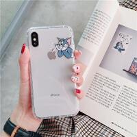 猫和老鼠苹果x手机壳iphonexsmax情侣7p透明防摔8plus/xr硅胶6s潮 6/6S(4.7) 吸管汤姆猫