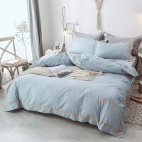 【人气】北欧风全棉四件套纯棉网红款纯色床单宜家床上三件套欧式被套简约