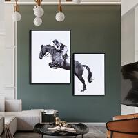 北欧简约客厅装饰画黑白组合创意床头壁画大气轻奢卧室餐厅挂画马