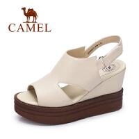 Camel/骆驼女鞋春夏新款舒适简约女鞋高跟头层牛皮女凉鞋