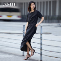 Amii[极简主义]2018夏小黑裙配腰带烧花桑蚕丝长款连衣裙11782266