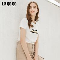 Lagogo/拉谷谷2019夏季新款上衣圆领字母白色短袖T恤女IATT313Q02