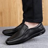 野图皮鞋男夏季新品乐福鞋男士百搭英伦豆豆鞋牛皮皮鞋男士潮鞋休闲正装鞋 黑色