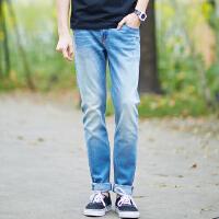 美特斯邦威男牛仔长裤夏装新款男磨白漆点抓痕牛仔裤