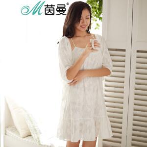 包邮 茵曼内衣 睡衣两件套女士吊带睡裙夏套装 9871482004