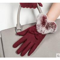 食指绣花可触屏都市白领女士羊毛手套 保暖獭兔毛口加绒防寒骑车触摸屏女手套