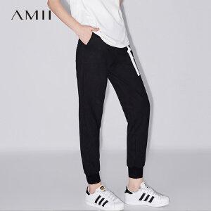 Amii[极简主义] 2017夏装新款宽松橡筋印花九分休闲长裤11722279