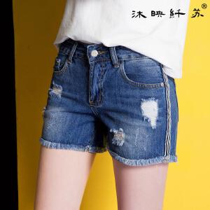 女式牛仔破洞裤清凉夏季热裤中腰短裤直筒裤潮流韩范花边裤WM568