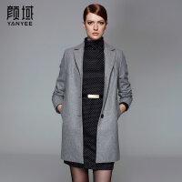 颜域品牌女装2017秋冬新款西装领长袖中长款风衣外套修身毛呢大衣