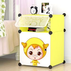 床头柜 简约现代卡通组装树脂家用卧室宿舍儿童简易床头柜衣柜塑料储物收纳柜子 创意家具