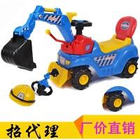 祺月007挖掘机可坐可骑 儿童音乐玩具车脚踏四轮工程车 蓝色