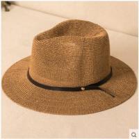 复古时尚皮扣舒适透气太阳防晒大沿遮阳帽礼帽帽子女士韩版草帽折叠男沙滩帽
