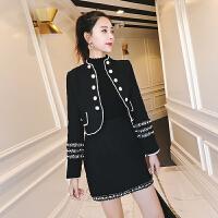 小香风套装秋冬季洋气名媛气质女神范裙子加外搭两件套轻熟风女装 黑色