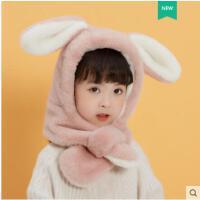 儿童秋冬男童女童护耳一体围巾帽防风保暖可爱宝宝冬天仿羊绒帽子